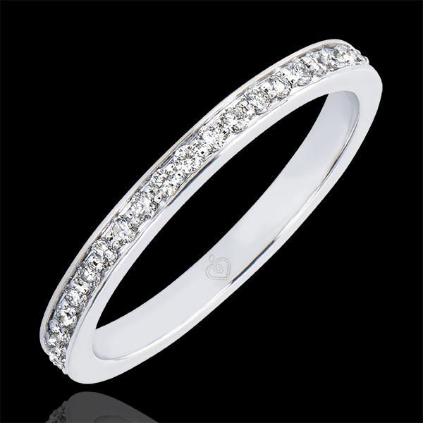 Trauring Ursprung - Glitzern - 18 Karat Weißgold und Diamanten