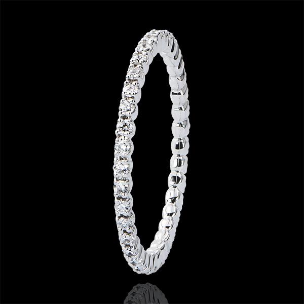 Trauring Ursprung - Krappenfassung kompletter Kreis - 18 Karat Weißgold und Diamanten