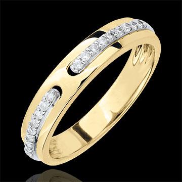 Trauring Versprechen - Gelbgold und Diamanten - Großes Modell - 18 Karat