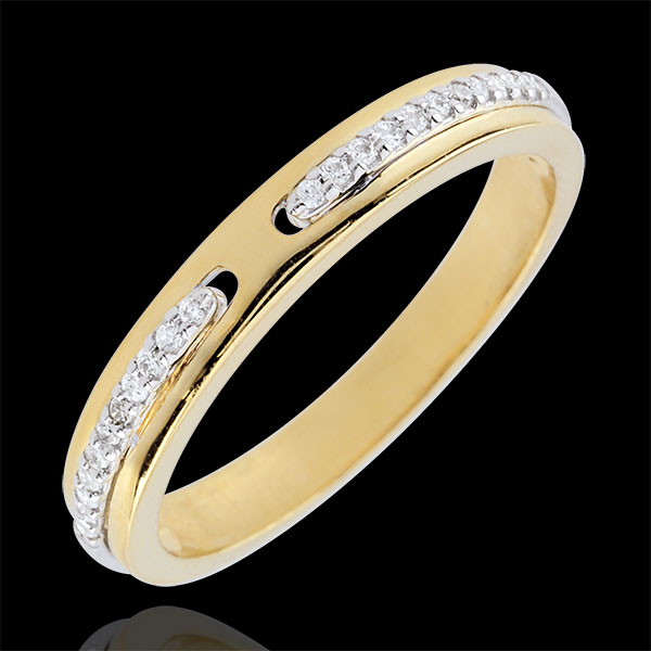 Trauring Versprechen - Zweierlei Gold und Diamanten - Kleines Modell - 18 Karat