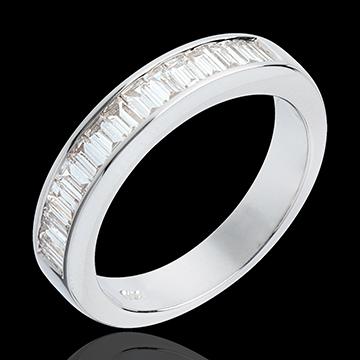 Trauring zur Hälfte mit Diamanten besetzt in Weissgold - 075 Karat