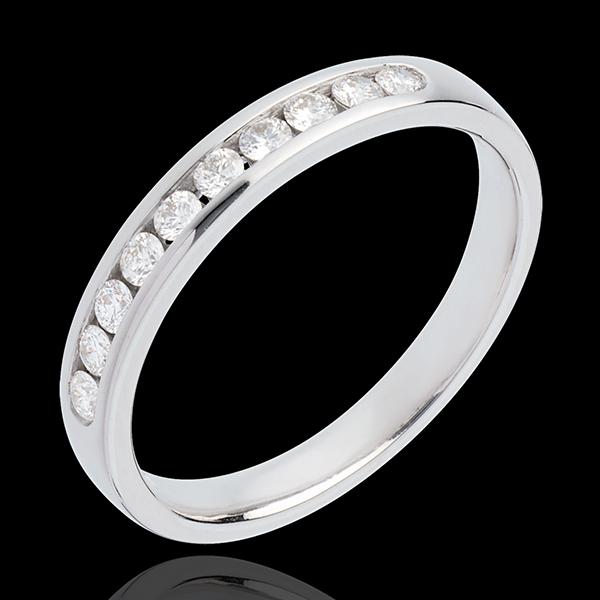 Trauring zur Hälfte mit Diamanten besetzt in Weissgold - Kanalfassung - 0.25 Karat - 10 Diamanten