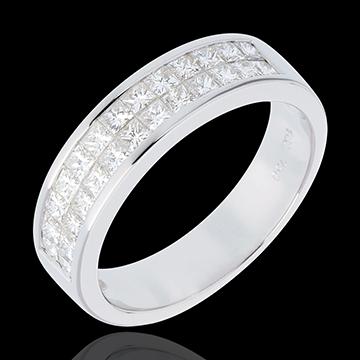Trauring zur Hälfte mit Diamanten besetzt in Weissgold - Kanalfassung 2-reihig - 1 Karat