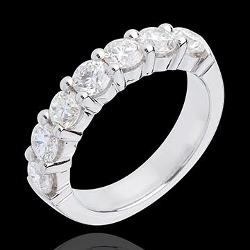 Trauring zur Hälfte mit Diamanten besetzt in Weissgold - Krappenfassung - 1.5 Karat - 7 Diamanten