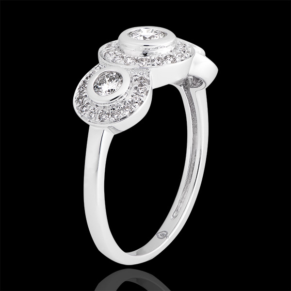 Trianon engagement ring - 9K white gold and diamonds