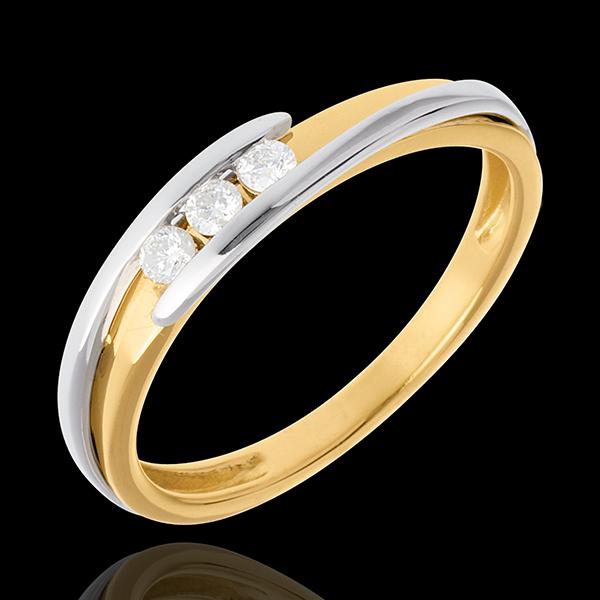 Trilogía Nido Precioso - Bipolar - 3 diamantes - oro amarillo y oro blanco 18 quilates
