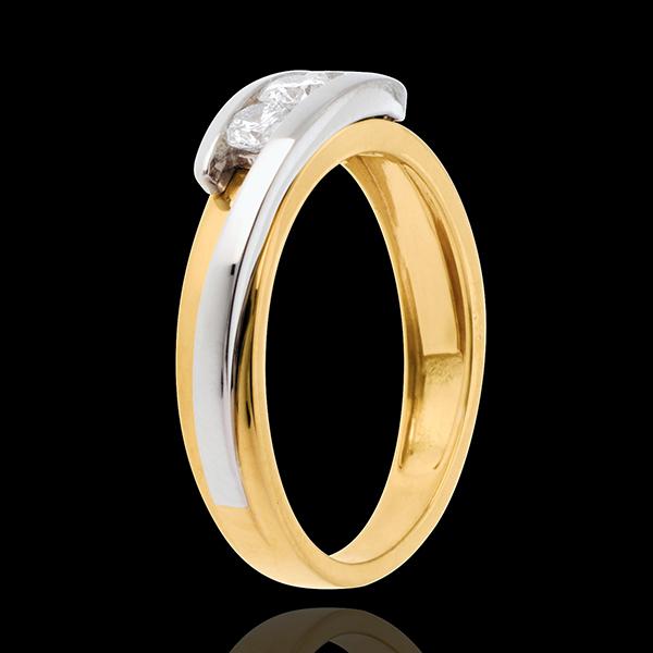 Trilogía Nido Precioso - Bipolar - oro amarillo y oro blanco 18 quilates - diamantes 0.38 quilates