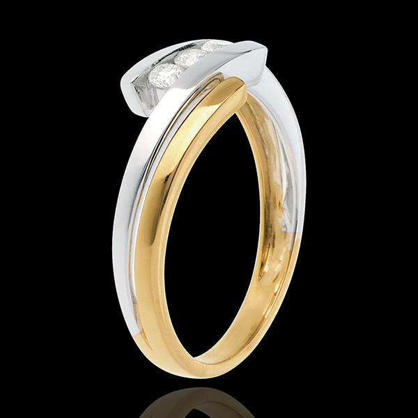 Trilogía Nido Precioso - Doble junco - oro blanco y oro amarillo 18 quilates - 3 diamantes