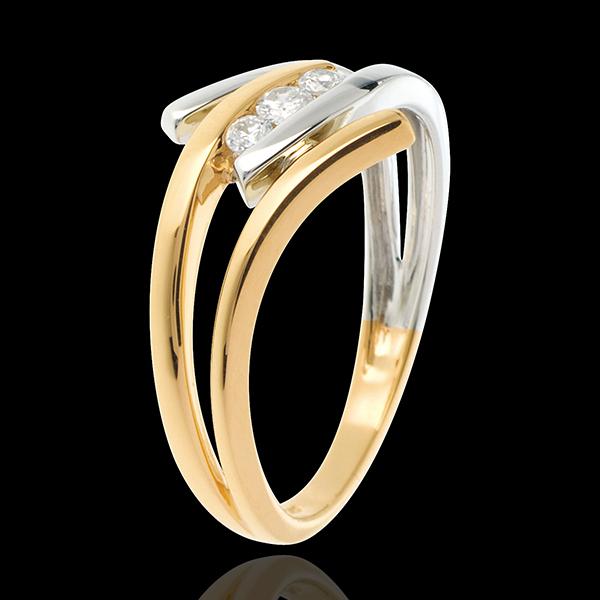 Trilogia Nido Prezioso -Arabesco - Oro giallo e Oro bianco - 18 carati - 3 Diamanti