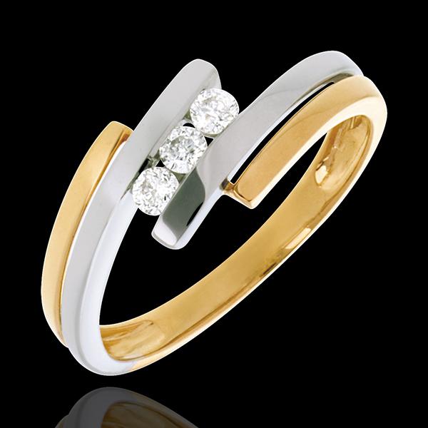 Trilogia Nido Prezioso - Doppio giunco - Oro bianco e Oro giallo - 18 carati - 3 Diamanti - 0.156 carati