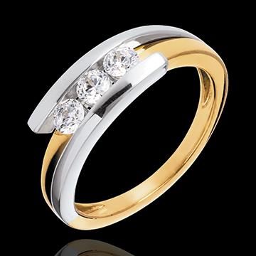 Trilogie Cuib Preţios - Bipolar - 3 diamante de 0.41 carate - aur alb şi aur galben de 18K
