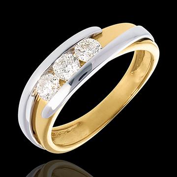 Trilogie Cuib Preţios - Bipolar - 3 diamante 0.54 carate - aur alb şi aur galben de 18K
