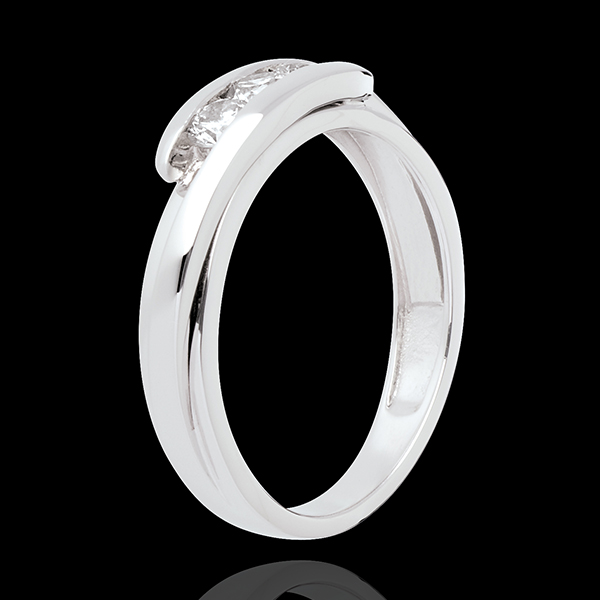 Trilogie Cuib Preţios - Bipolar - aur alb de 18K - 0.38 carate - 3 diamante