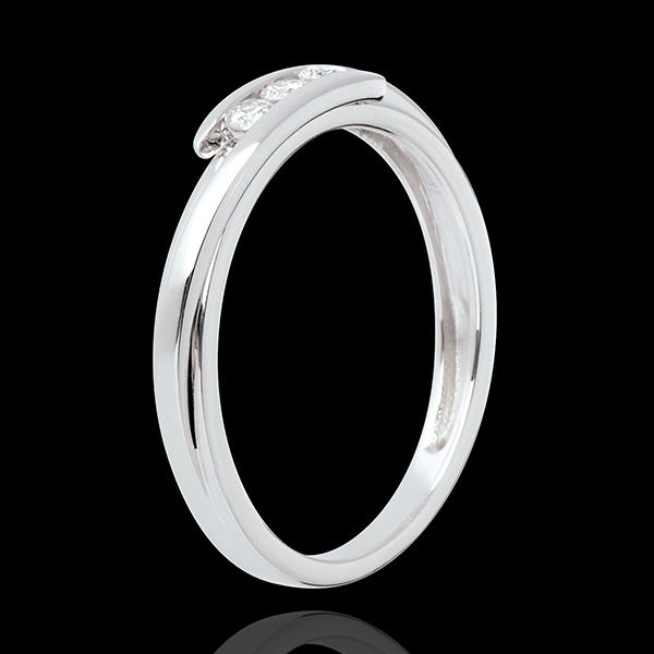 Trilogie Cuib Preţios - Bipolar - aur alb de 18K - 3 diamante - 0.11 carate