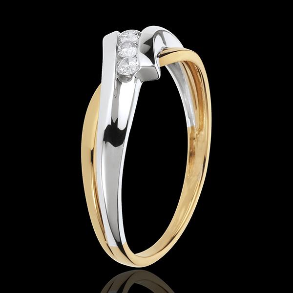 Trilogie Cuib Preţios - Solfegiu - aur alb şi aur galben de 18K - 3 diamante
