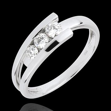 Trilogie Cuib Preţios - Trianon - aur alb de 18K - 0.31 carate - 3 diamante