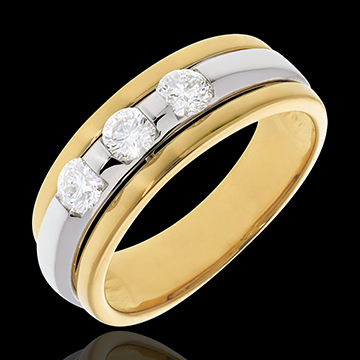 Trilogie Eclipse - 3 diamants 0.44 carats - or blanc et or jaune 18 carats