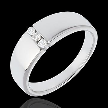 Trilogie étreinte - or blanc 18 carats - 3 diamants