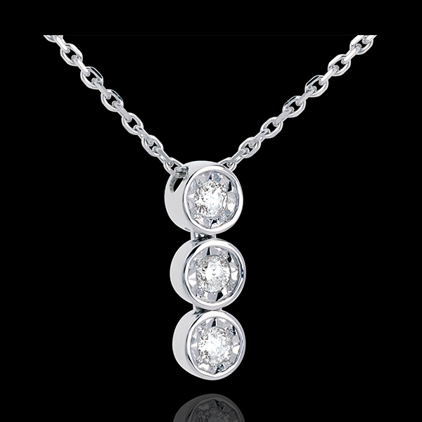 Trilogie Halsketting 18 karaat witgoud - 3 Diamanten - 18 karaat goud