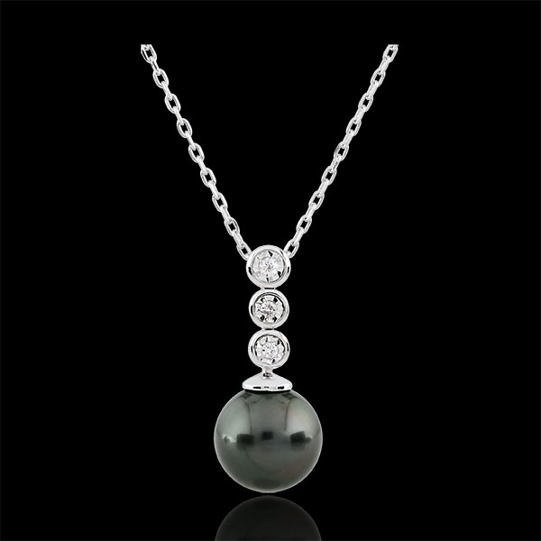 Trilogie Halsketting aan parels - 3 Diamanten - 9 karaat witgoud