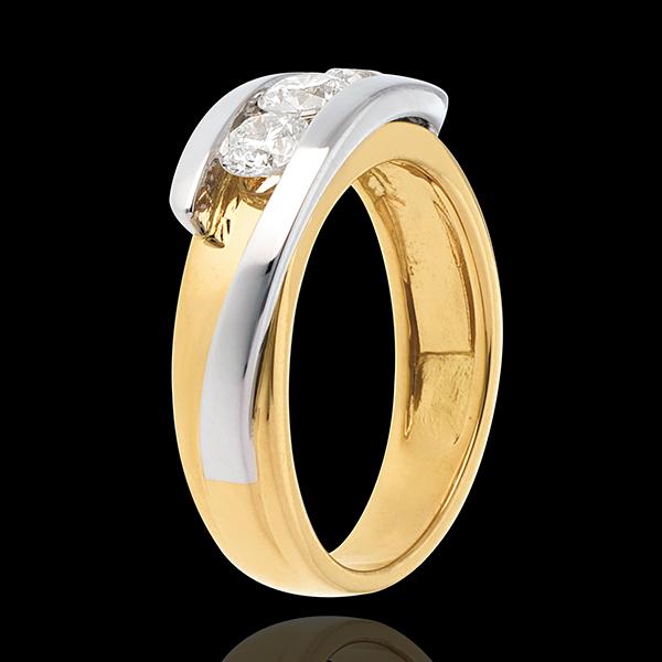 Trilogie Liefdesnest - Tweepolig - 18 karaat witgoud geelgoud (Zeer Groot Model) - 0.77 karaat 3 Diamanten