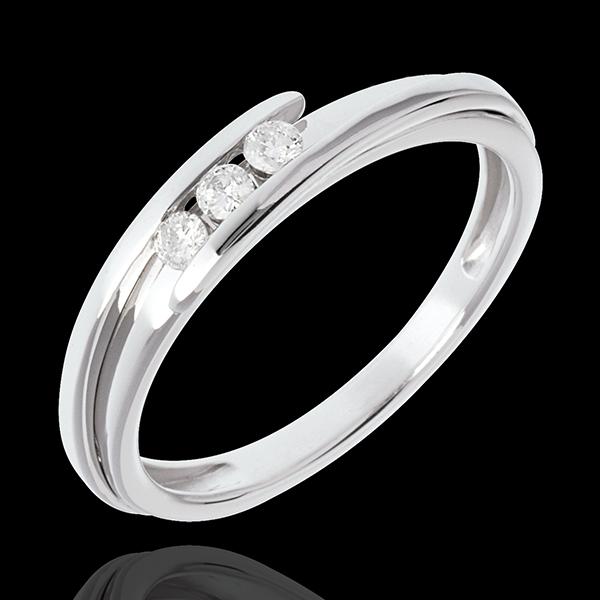 Trilogie Nid Précieux - Bipolaire - or blanc 18 carats - 3 diamants - 0.11 carat