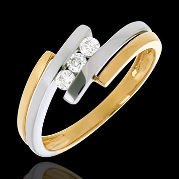 Trilogie Nid Précieux - Double jonc - or blanc et or jaune 18 carats - 3 diamants