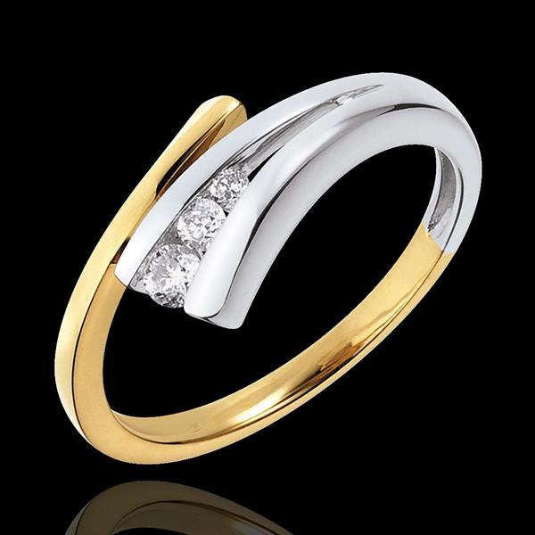Trilogie-Ring Goldener Fisch - Gelbgold und Weissgold mit 3 Diamanten