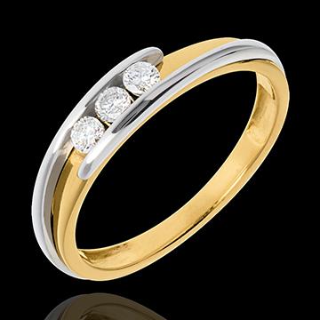 Trilogie Ring Kostbarer Kokon - Anziehungskraft - Gelbgold - Diamant 0.16 Karat - 18 Karat