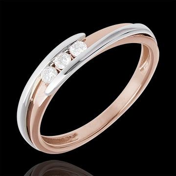 Trilogie Ring Kostbarer Kokon - Anziehungskraft -Weiß- und Roségold - 3 Diamanten 0.11 Karat - 18 Karat