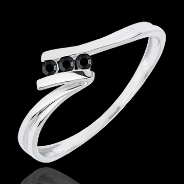 Trilogie Ring Kostbarer Kokon - Euphorie - Weißgold - schwarzen Diamanten - 18 Karat
