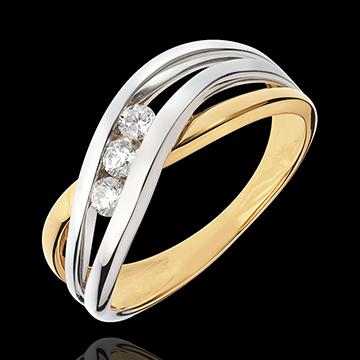 Trilogie Ring Kostbarer Kokon - Nymphea - Gelbgold Weißgold - 3 Diamanten - 18 Karat