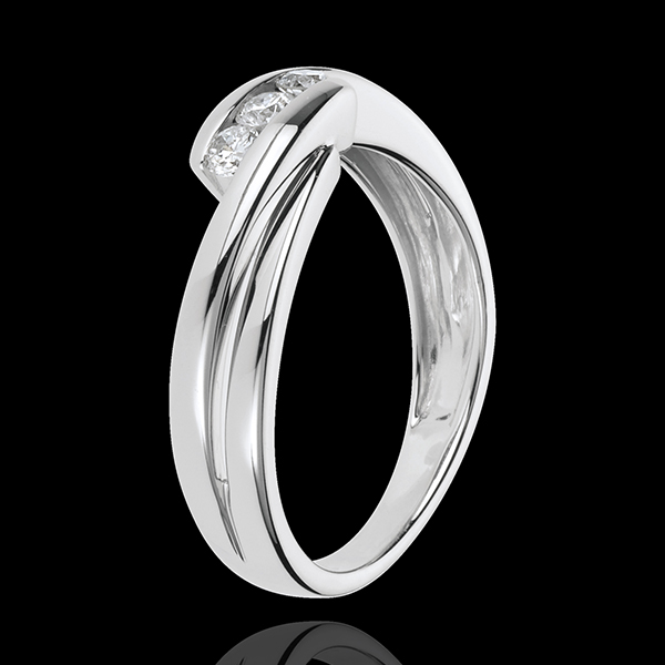 Trilogie Ring Kostbarer Kokon - Ritornell - Weißgold - 3 Diamanten 0.21 Karat - 18 Karat