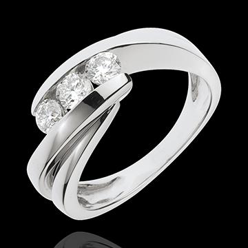 Trilogie Ring Kostbarer Kokon - Ritornell - Weißgold - 3 Diamanten 0.54 Karat - 18 Karat