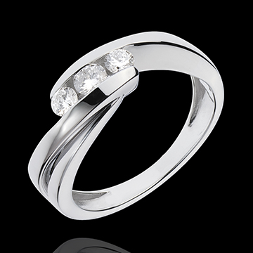 Trilogie Ring Kostbarer Kokon - Ritournelle - Weißgold - 3 Diamanten 0. 32 Karat - 18 Karat