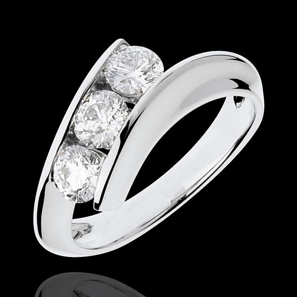 Trilogie Ring Kostbarer Kokon - Weiblichkeit - Weißgold - 3 Diamanten 1 Karat - 18 Karat