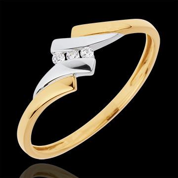 Trilogie Ring Liefdesnest - Melody - 0.04 karaat Diamanten -18 karaat witgoud en geelgoud