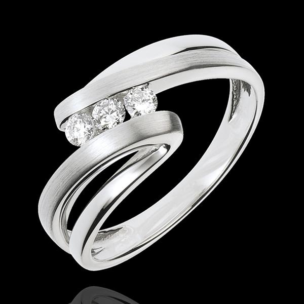 Trilogie Ring Liefdesnest - Najade - 18 karaat witgoud - 3 Diamanten