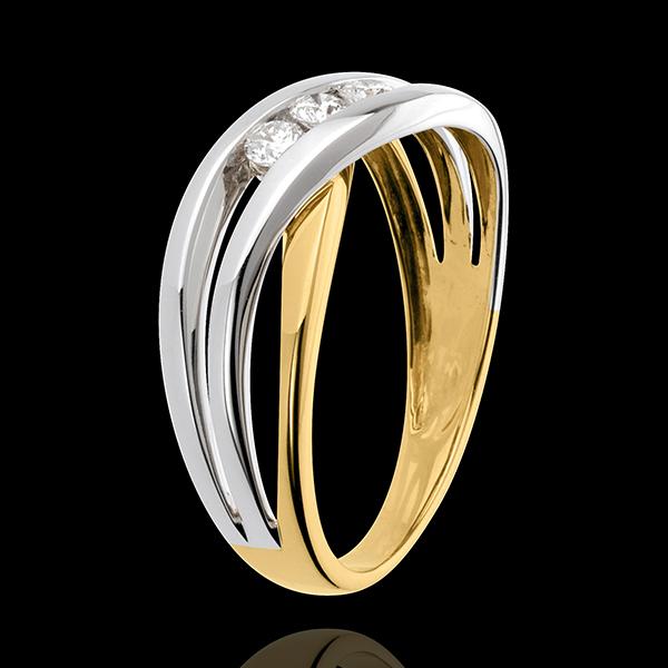 Trilogie Ring Liefdesnest - Nympheade - 18 karaat witgoud en geelgoud - 3 Diamanten