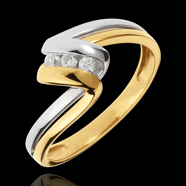 Trilogie Ring Liefdesnest - Oneindig Lang - 18 karaat witgoud en geelgoud - 3 Diamanten