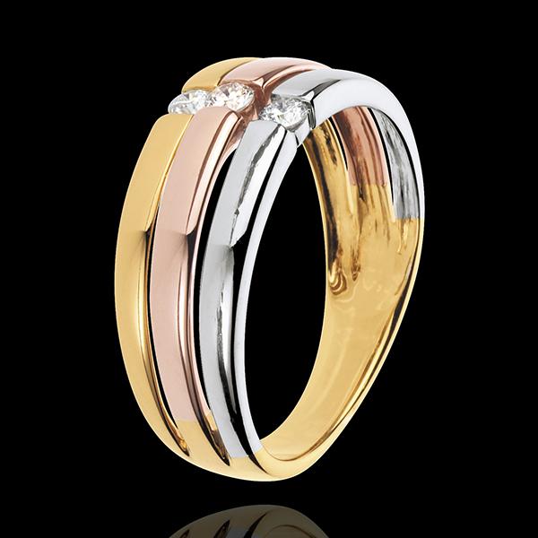 Trilogie-Ring Trinidad - Weissgold, Gelbgold und Roségold mit 3 Diamanten