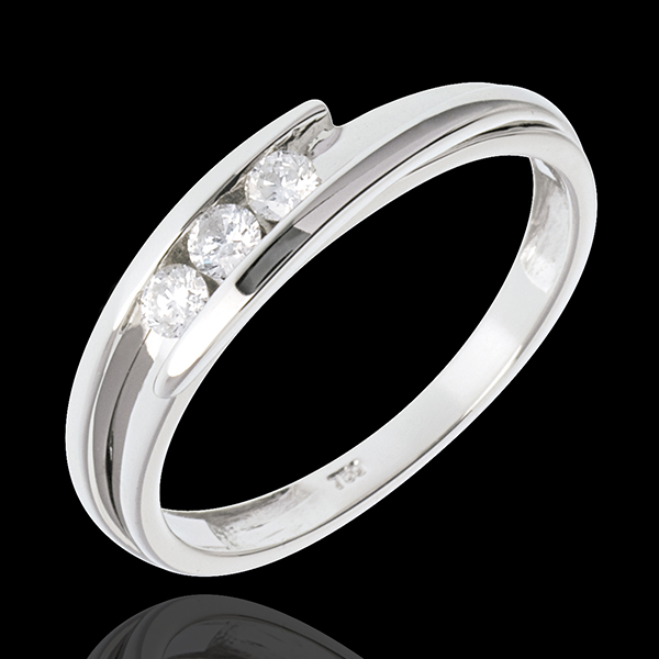 Trilogy Nido Prezioso - Bipolare - Oro bianco - 18 carati - 3 Diamanti - 0.156 carati