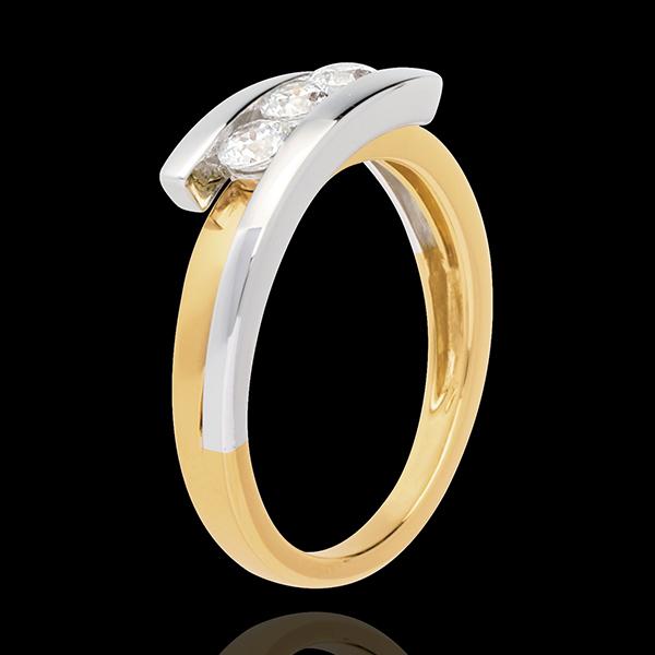 Trilogy Precious Nest - Bipolar - yellow and white gold - 3 diamonds - 0.12 carat