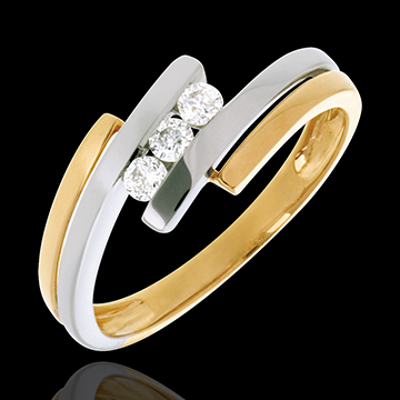 Trilogy Precious Nest - Double-swing - white and yellow gold - 3 diamonds -18 carats