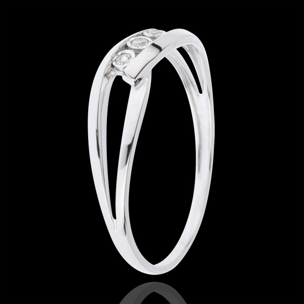 Trilogy Ring Precious Nest - Loving Kiss - white gold - 18 carats
