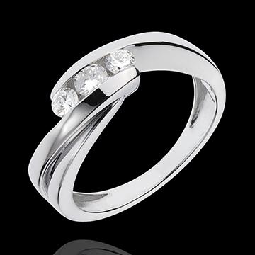 Trilogy Ring Precious Nest - Ritournelle - white gold - 0.32 carat - 3 diamonds - 18 carats