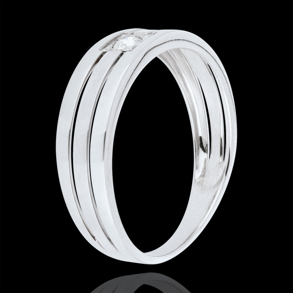 Triple line Ring - White gold