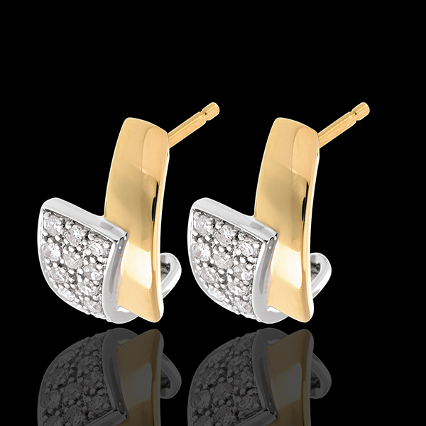 Tropical earrings paved yellow gold - 24 diamonds