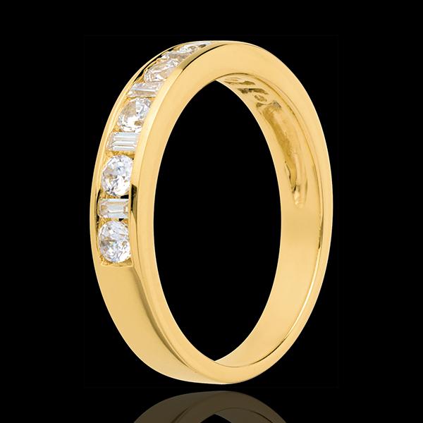 Trouwring 18 karaat geelgoud bezet - rails - 0.57 karaat - 13 Diamanten