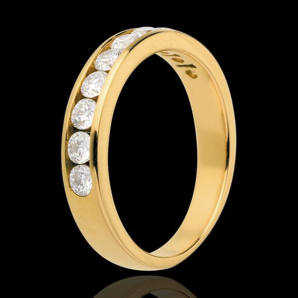 Trouwring 18 karaat geelgoud bezet - rails - 0.65 karaat - 10 Diamanten